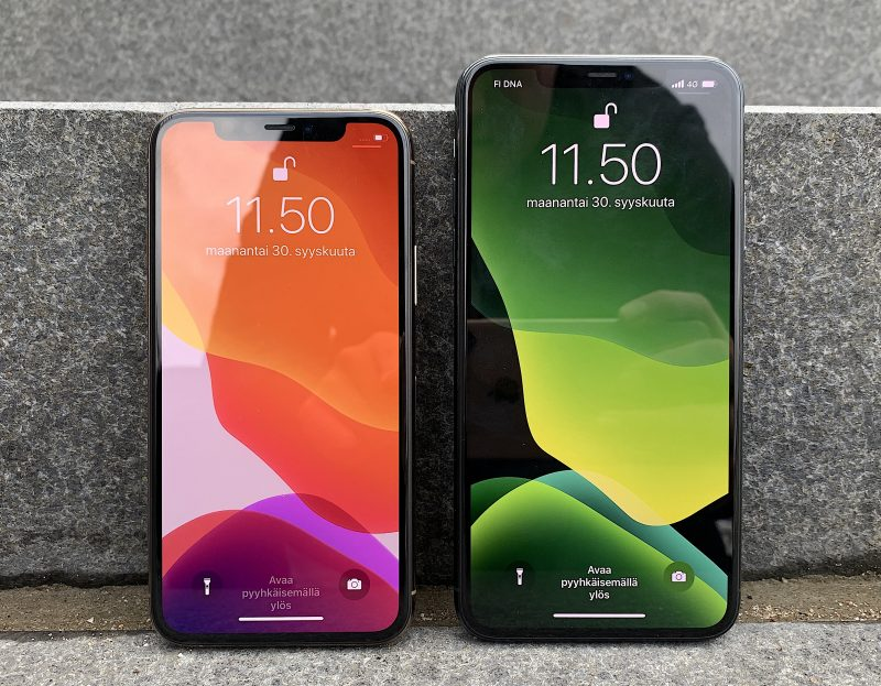 iPhone 11 Pro ja iPhone 11 Pro Max. Etupuolella ei ole eroja aiemmista malleista.