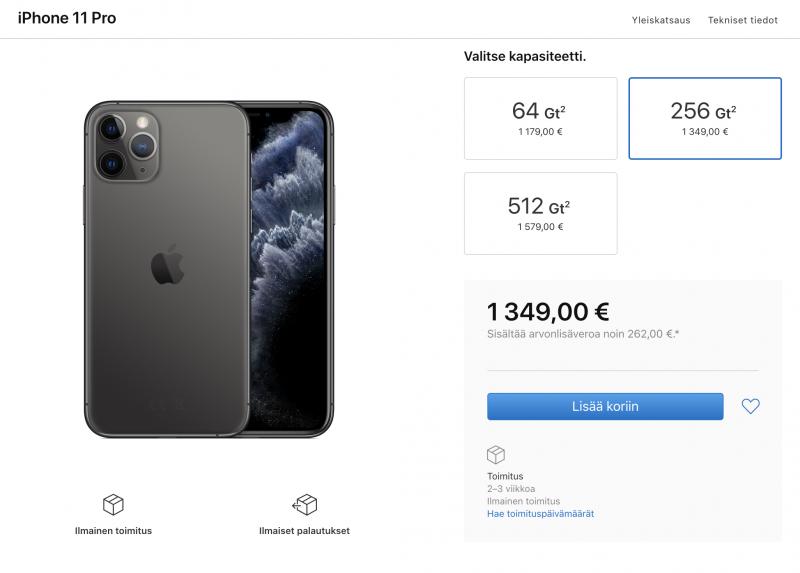 Vasta harvan iPhone 11 -mallin toimitusaikaennuste on venähtänyt 2-3 viikkoon Applen verkkokaupassa. Yksi näistä on iPhone 11 Pro 256 gigatavun tallennusmuistilla ja tähtiharmaassa värissä.