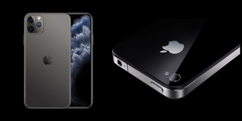 Nykyinen iPhone 11 Pro ja aiempi iPhone 4.
