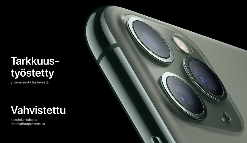 iPhone 11 -malleissa on käytössä Applen mukaan aiempaa kestävämpää lasia.