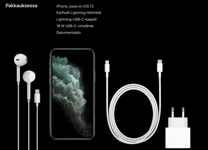 iPhone 11 Pron ja iPhone 11 Pro Maxin myyntipakkauksessa on mukana 18 watin Apple-laturi ja USB-C-Lightning-kaapeli.