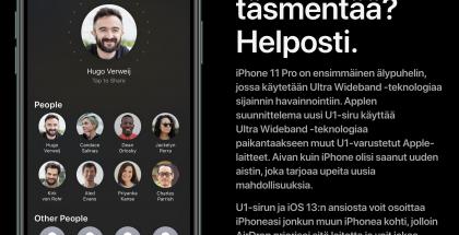iPhone 11:ssä ja iPhone 11 Pro -malleissa hyödynneetään uutta U1-piiriä ja korostetaan AirDrop-jaossa sitä laitetta, jota puhelimella osoitetaan.