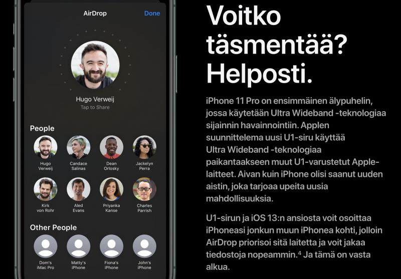 iPhone 11:ssä ja iPhone 11 Pro -malleissa iOS 13.1 hyödyntää uutta U1-piiriä ja korostaa AirDrop-jaossa sitä laitetta, jota puhelimella osoitetaan.