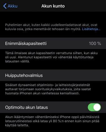 Optimoitu akun lataus on uusi toiminto iOS 13:ssa.