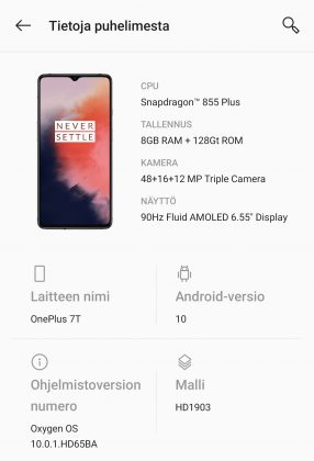 OnePlus 7T:ssä on heti Android 10.