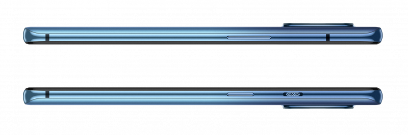 OnePlus 7T kyljiltä. Virtapainike, hiljennyskytkin ja äänenvoimakkuuspainikkeet kaikki tutuilla paikoillaan.
