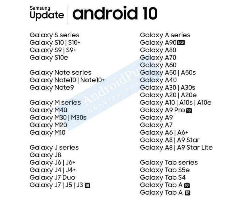 Vuotanut kuva paljastaa väitetysti Android 10 -päivityksen saavat Samsung-laitteet.