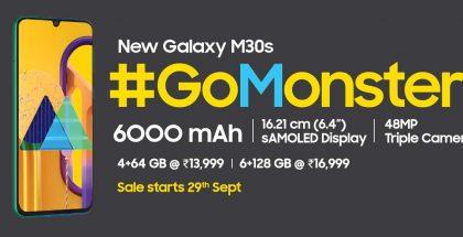 Samsung Galaxy M30s on varustettu kookkaalla 6 000 milliampeeritunnin akulla.