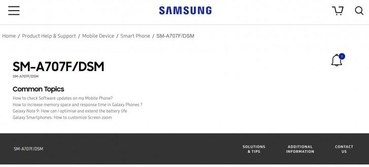 SM-A707F-mallikoodia kantava Galaxy A70s löytyy jo listattuna Samsungin tukisivuilta.