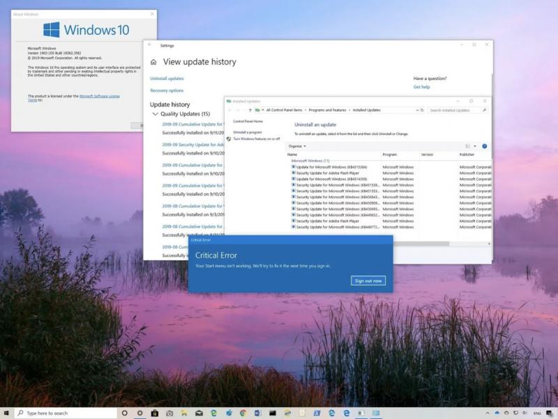 Käynnistä-valikko ei ongelman takia toimi kunnolla. Kuva: Windows Central.
