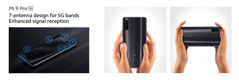 Mi 9 Pro 5G:ssä on 7 antennia 5G-yhteyksille.