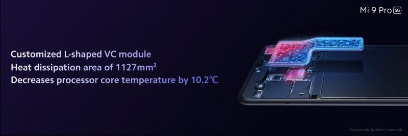 Mi 9 Pro 5G on varustettu kookkaalla jäähdytysjärjestelmällä.
