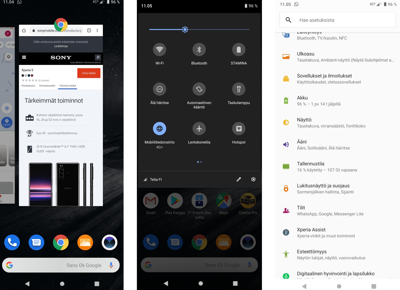 Kuvakaappauksia Xperia 5:n Android-käyttöliittymästä.