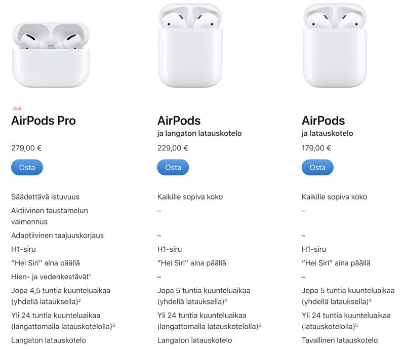 Applen eri AirPods-vaihtoehdot.