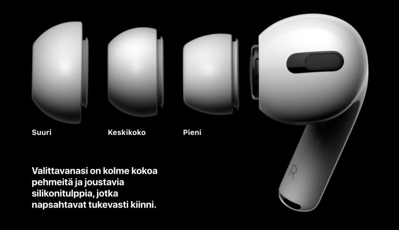 Silikonikumitulppia tulee AirPods Pro -kuulokkeiden mukana kolme eri kokoa.