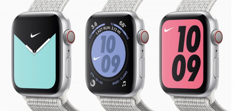 Apple Watch Series 5:n Nike-versioissa on omat Nike-kellotaulunsa.