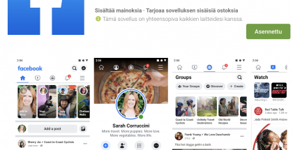 Facebook-sovellus Google Playssa.