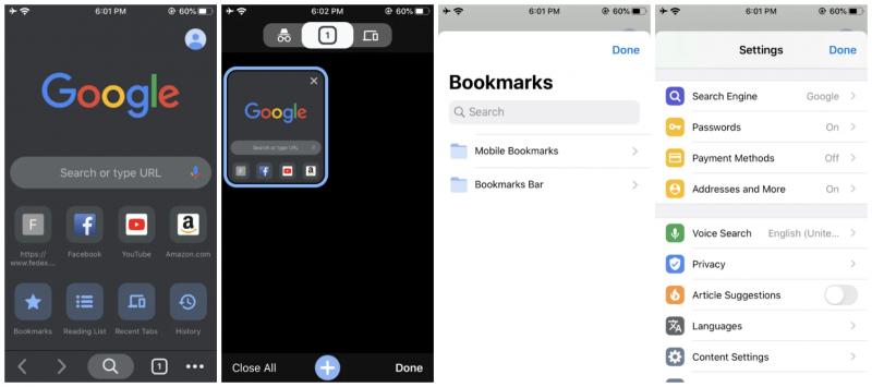Google Chrome 78 iPhonessa tuo muun muassa tumman tilan.