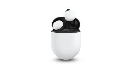 Uudet Pixel Buds -kuulokkeet latauskotelonsa kanssa.