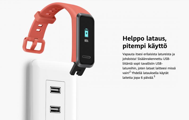 Huawei Band 4:n lataus onnistuu suoraan USB-liitännästä.