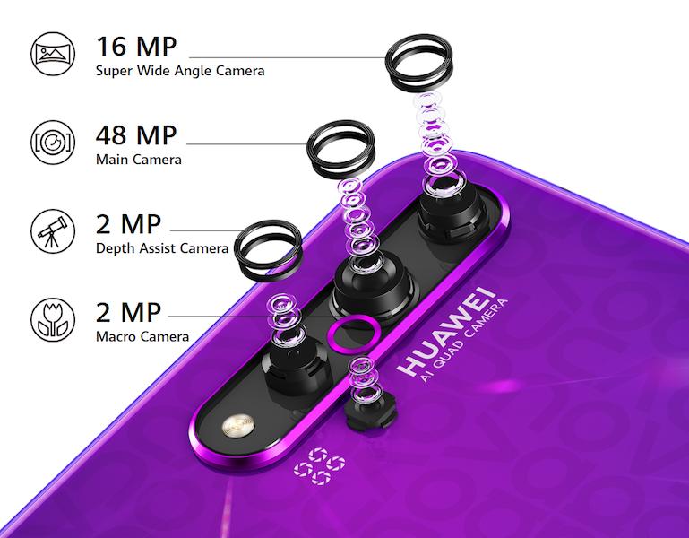 Huawei Nova 5T:ssä on neljä takakameraa.