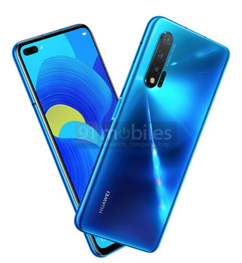 Mahdollinen Huawei Nova 6 5G -älypuhelin. Kuva: 91mobiles.