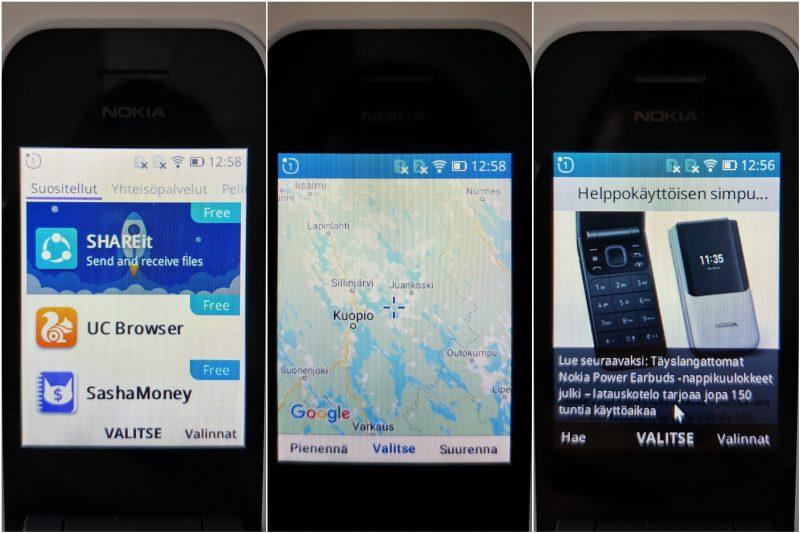 Sovelluskauppa, Maps-karttasovellus ja verkkoselain.