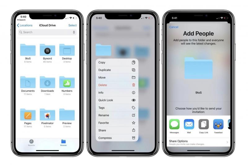 iCloud-kansioiden jaon piti olla jo iOS 13 -käyttöjärjestelmäversiota.