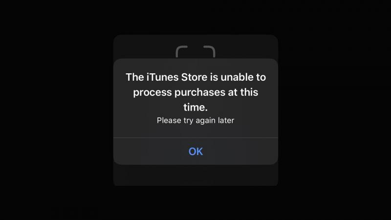 iTunes Store -virheilmoitus. Kuva: 9to5Mac.