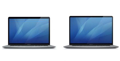 Oikealla mahdollinen uuden 16 tuuman MacBook Pron kuvake, oikealla aiempi 15 tuuman MacBook Pro. Kuva: MacGeneration.