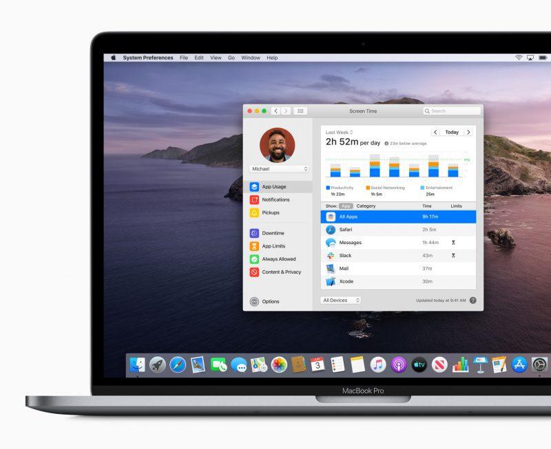 macOS Catalina tuo myös Maceihin nyt viime vuonna iOS-laitteissa esitellyn Ruutuaika-kokonaisuuden.