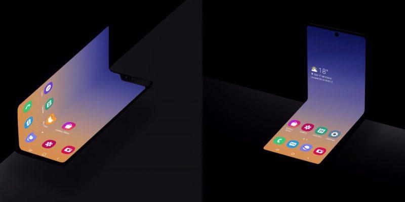 Kuvassa vasemmalla Galaxy Foldia läheisesti muistuttava malli. Oikealla uusi konseptipuhelin, joka suljettaessa muistuttaisi läheisesti neliötä.