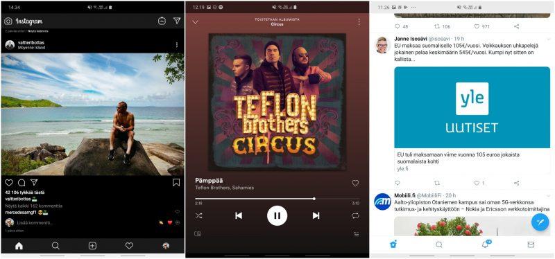 Instagram, Spotify ja Twitter Galaxy Foldin sisänäytöllä.