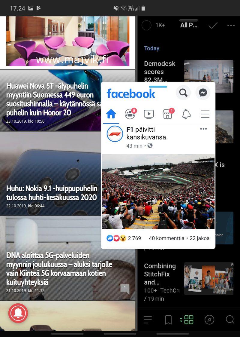 Facebook-pikkusovellus avattuna kahdella taustalla olevan sovelluksen päälle.