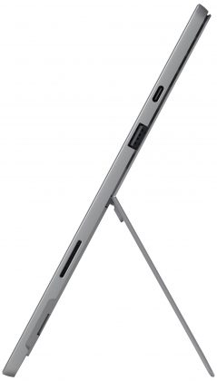 Surface Pro 7 on varustettu edelleen seisontatuella. Kyljellä nyt uutuutena USB-C-liitäntä.