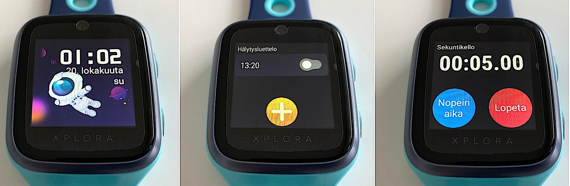 Xplora 4:n kellotaulu sekä Hälytys- ja Sekuntikello-sovellukset.