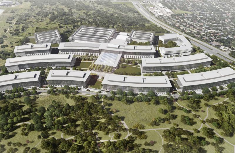 Hahmotelmakuva Applen uudesta kampusalueesta Austinissa.
