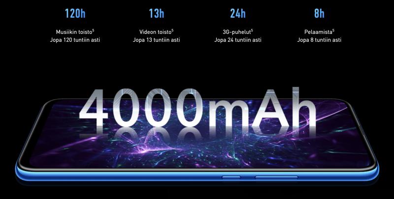 Suuren akun mahdollistamat pitkät toiminta-ajat ovat yksi Honor 9X -älypuhelimen vahvuuksista.