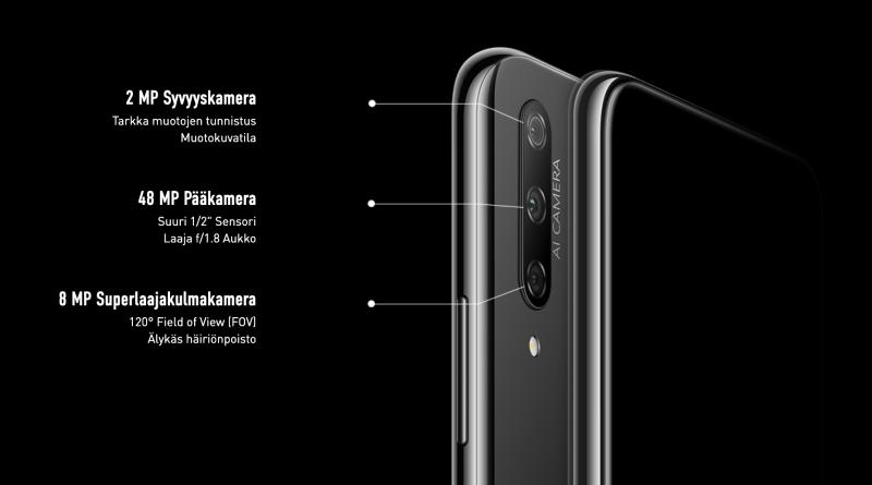 Honor 9X:ssä on kolme takakameraa.