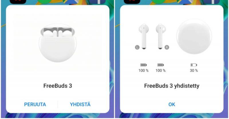 FreeBuds 3 -kuulokkeiden ponnahdusikkuna Android / EMUI 10:llä päivitetyssä Huawei P30 Prossa.