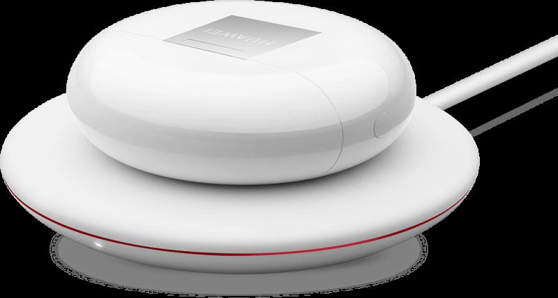 FreeBuds 3 -kuulokkeiden latauskoteloa voi ladata myös latausalustalla.
