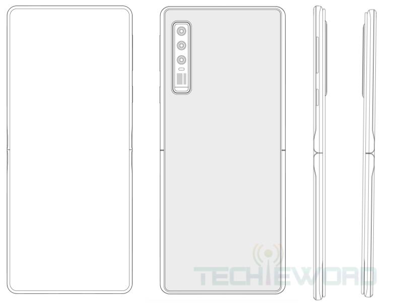 Huawein patentti taittuvanäyttöisestä simpukkapuhelimesta. Kuva: Techieword.