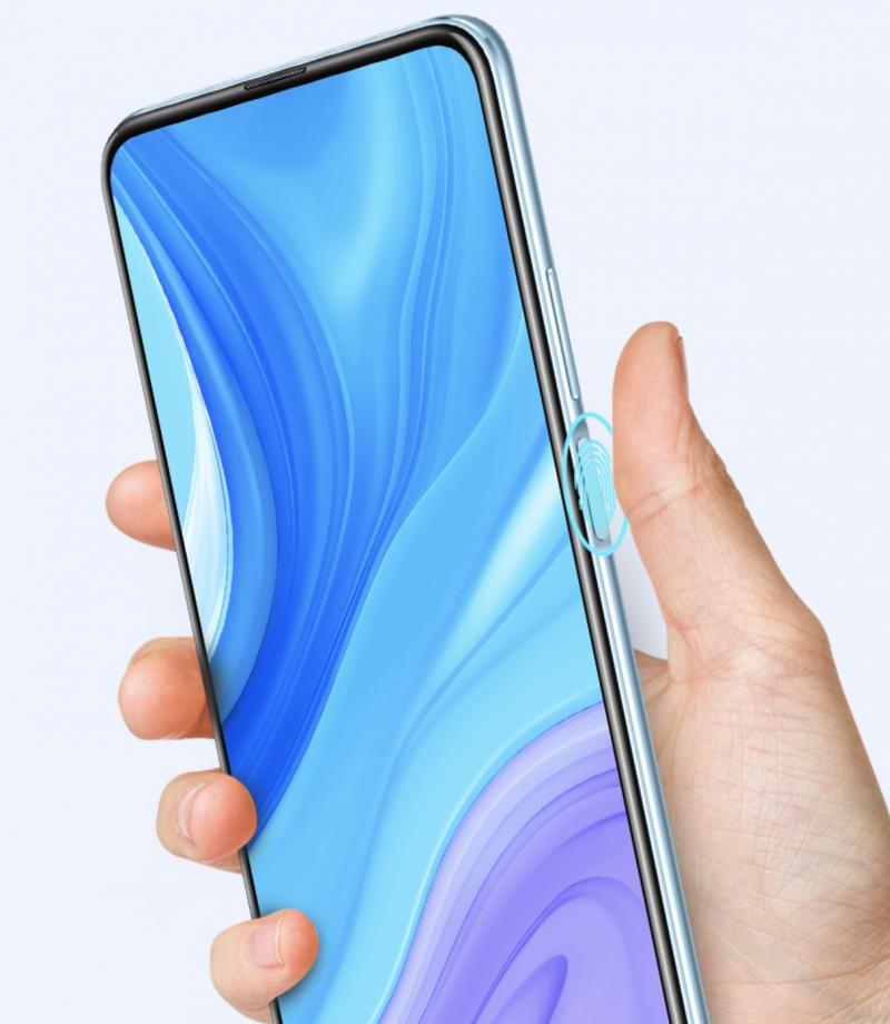 Sormenjälkilukija on Huawei Y9s:ssä kyljellä.