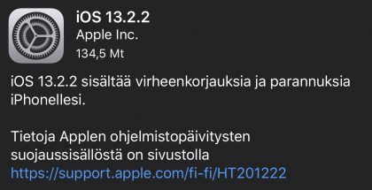 iOS 13.2.2 on ladattavissa.