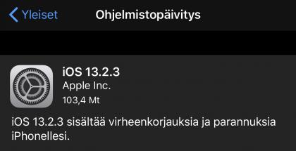 iOS 13.2.3 on ladattavissa iPhoneille.