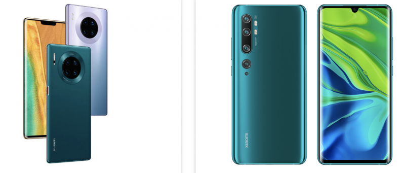 Huawei Mate 30 Pro ja Xiaomi Mi CC9 Premium Edition eli Mi Note 10 Pro.