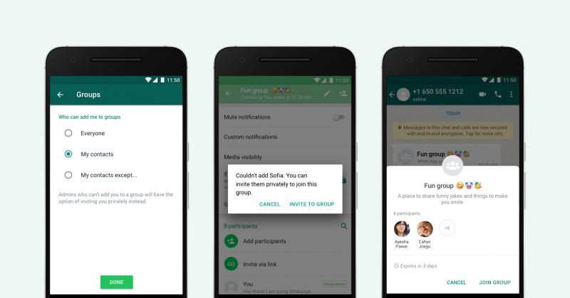 WhatsAppin uudet ryhmään liittämisen asetukset.