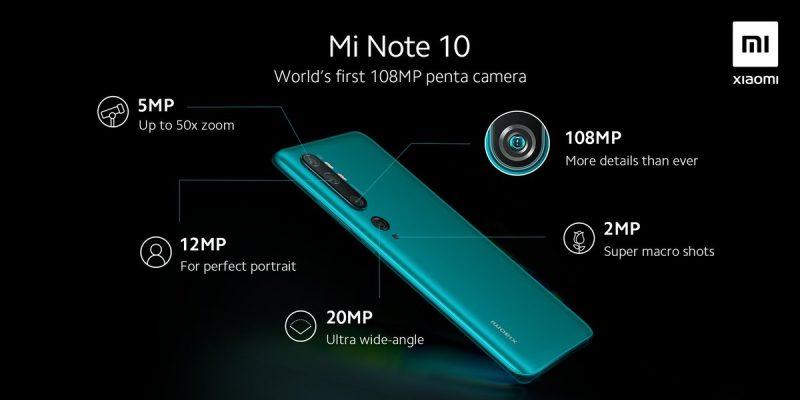 Xiaomin julkaisema kuva Mi Note 10:stä ja sen viiden takakameran yksityiskohdista.