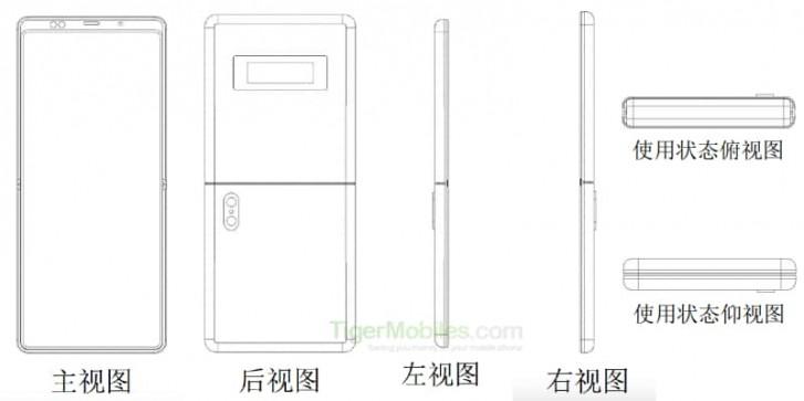 Xiaomin patentti taittuvanäyttöisestä simpukkapuhelimesta. Kuva: TigerMobiles.