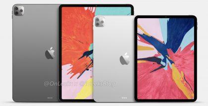 11 ja 12,9 tuuman iPad Pro mallinnoskuvassa. Kuva: OnLeaks / iGeeksBlog.